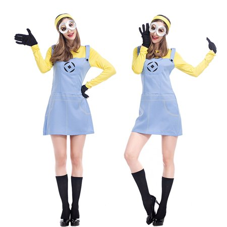 Minion Outfit For Kids (Women's Minion Long Sleeve Dress Costume 4 Piece Outfit)