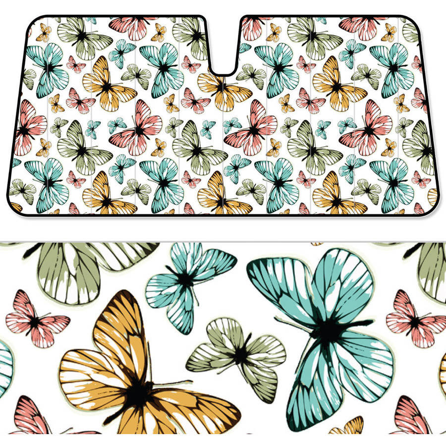 BDK Butterfly SunShade, Colorful Butterflies, Folding Accordion with Static Cling Auto Shade