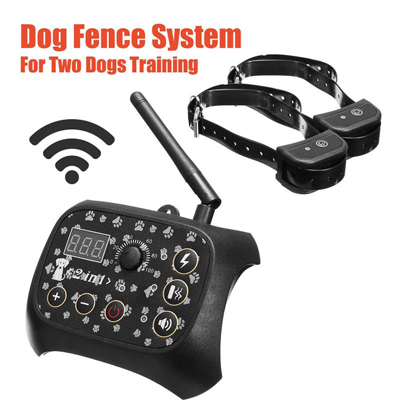 iMeshbean Outdoor Wireless Dog Training Shock 2 Collar Fence Pet Electric Trainer System