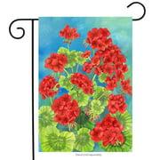 "Scarlet Geraniums Spring Garden Flag Floral Decorative Yard Banner 12"" x 18"""