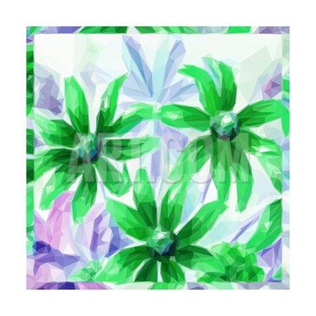 Jaclo Low Pattern - Flowers, Low Poly Pattern Print Wall Art By alexcoolok