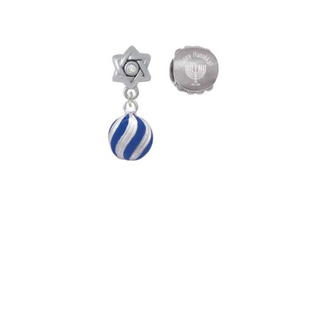 Silvertone 3-D Blue and Striped Ornament Happy Hanukkah Charm Beads (Set of 2)