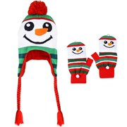 Christmas Holiday Snowman Kids Youth Fingerless Glove Mittens and Braided Knit Hat Set