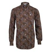 Cinch Western Shirt Mens L/S Weave Floral Button Brown MTW1104157