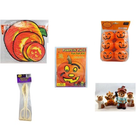 Halloween Fun Gift Bundle [5 Piece] - Classic Pumpkin Cutouts Set of 9 - Party Favors Pumpkin Candy Containers 6 Count - Darice Pumpkin Face Fun Felt Kit - Stitches - Skeleton Server  - Homco  Set N - Halloween Photo Face Cutouts