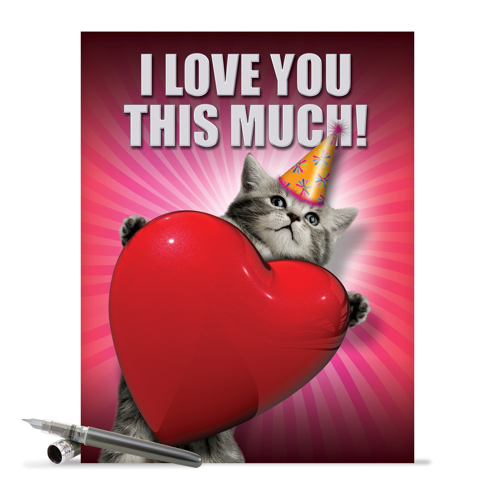 "J1644BDB Jumbo Funny Birthday Card: 'Love You This Much Cat' with Envelope (Jumbo Size: 8.5"" x 11"")"