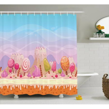 Dessert Shower Curtain Fantasy Candy Road Of Popsicles Lollipops Rolled Waffers And Sweet Swirl Candies