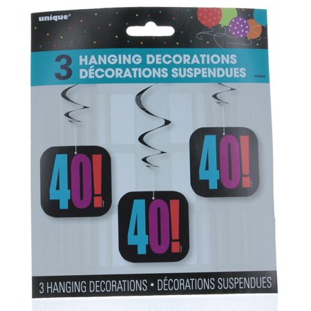 Birthday Cheer 40th Birthday Hanging Decorations, 3pk