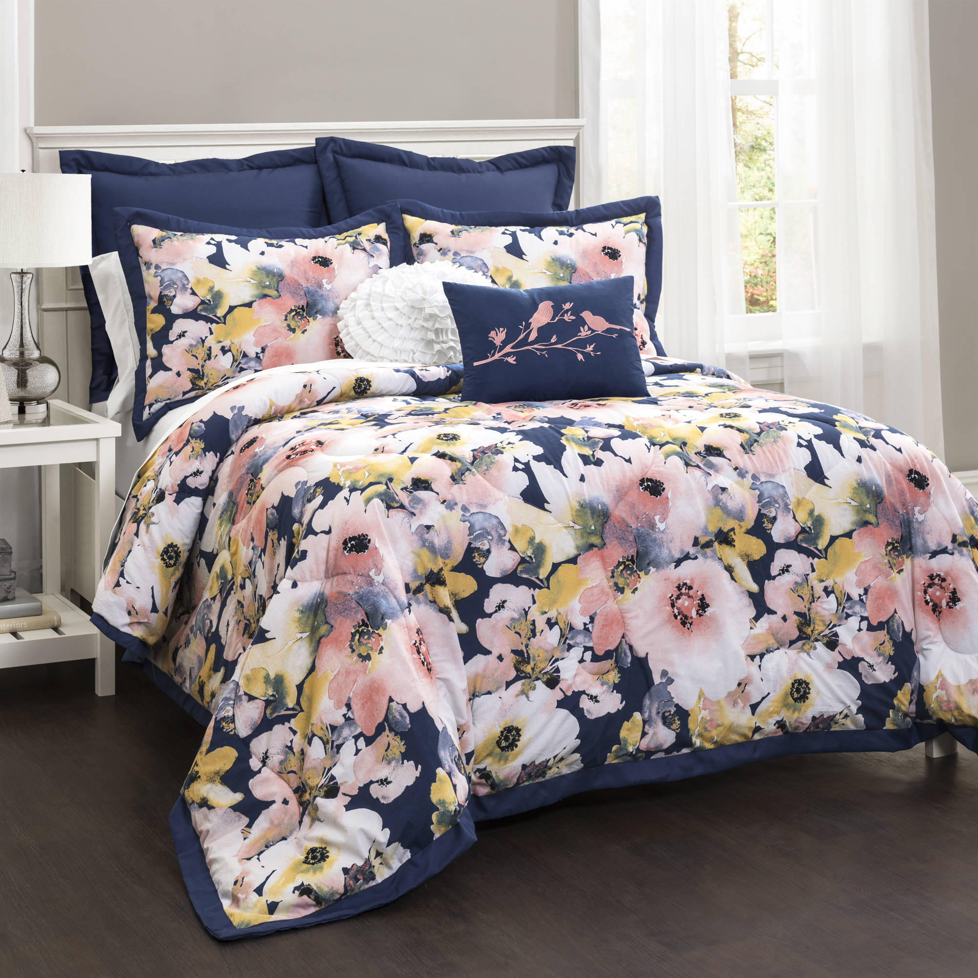 Floral Watercolor 7 Piece Bedding Comforter Set Walmart Com