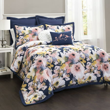 Floral Watercolor 7-Piece Bedding Comforter