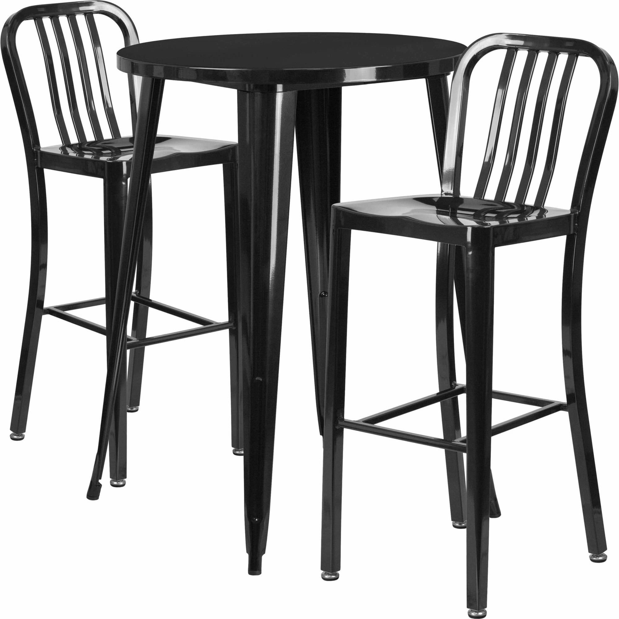 "Flash Furniture 30"" Round Metal Indoor-Outdoor Bar Table Set with 2 Vertical Slat Back Barstools, Multiple Colors"