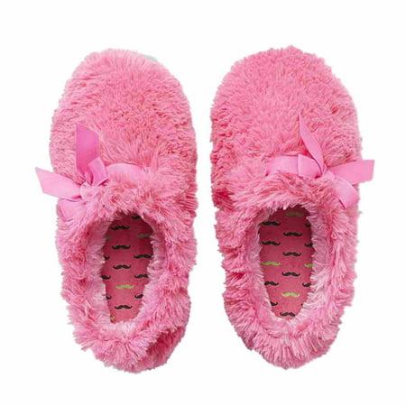 048ab63bce1 Joe Boxer - Joe Boxer Women Pink Faux Fur Slip-in Slippers Gripper Fuzzy  Ribbon Trim - Walmart.com