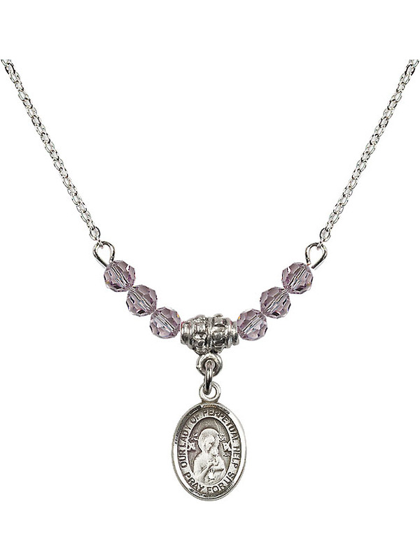 Bonyak Jewelry 18 Inch Rhodium Plated Necklace w// 4mm Purple February Birth Month Stone Beads and Guardian Angel