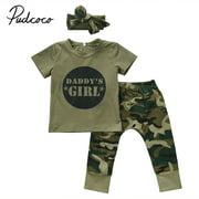 Newborn Baby Boys Girls Camo T-shirt Top Pants Leggings Outfits Set Clothes