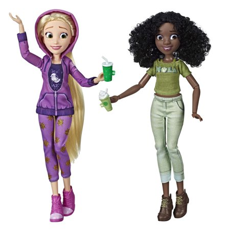 Disney Princess Ralph Breaks the Internet Movie Dolls, Rapunzel and Tiana (Tiny Disney Princess Doll)