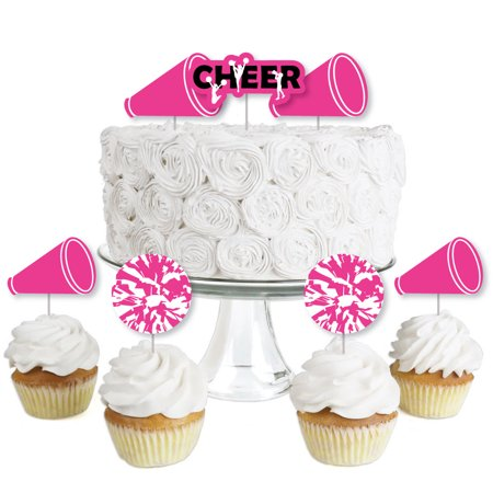 We Got Spirit - Cheerleading - Dessert Cupcake Toppers - Birthday Party or Cheerleader Party Clear Treat Picks - 24 Ct - Cheerleader Supplies