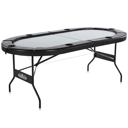 Barrington 6 Player Poker Table - No Assembly Required, Gray