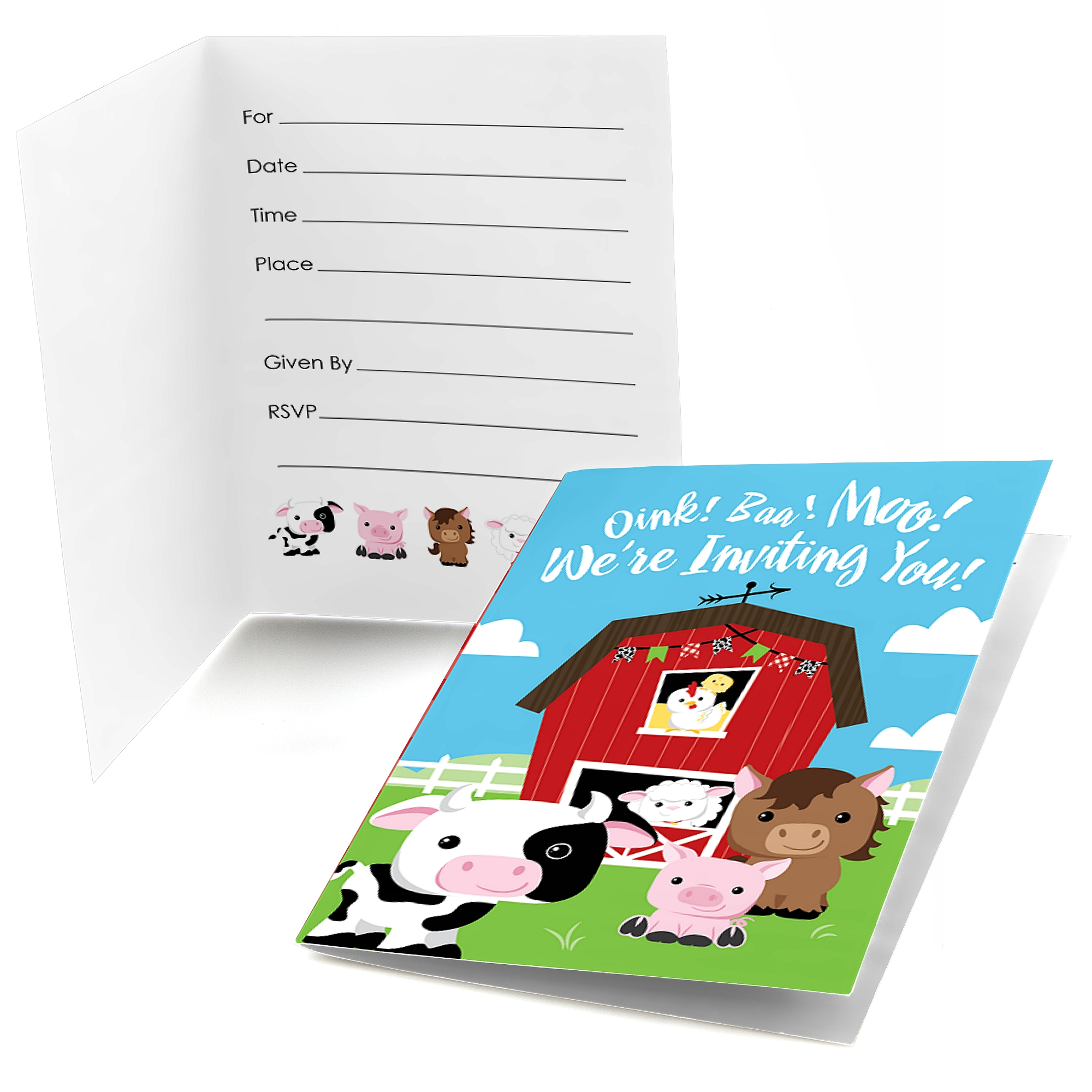 Farm Animals - Fill In Baby Shower or Birthday Party Invitations (8 count)