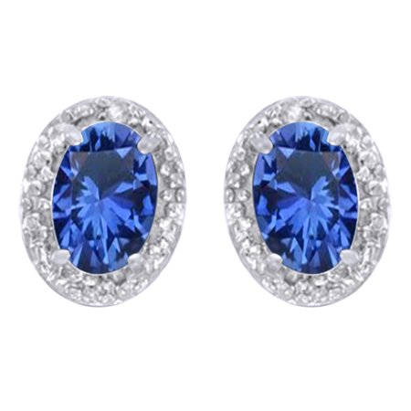 Oval Cut Simulated Blue Sapphire With Natural Diamond Halo Stud Earrings In 14K Solid White Gold