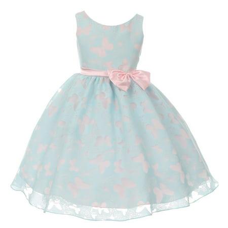 Kids Dream Little Girls Blue Pink Butterfly Burnout Organza Easter - Girls Butterfly Dress