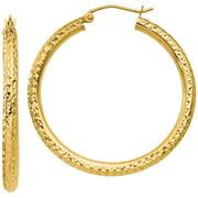 10kt Gold Diamond-Cut 3mm Round Hoop Earrings