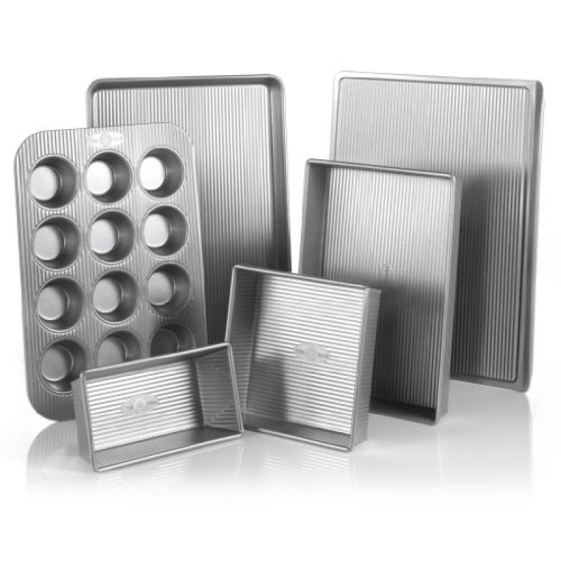 USA Pan Bakeware Aluminized Steel 6 Piece Set, Cookie She...