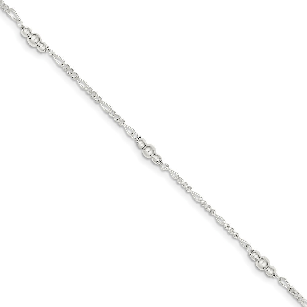 FB Jewels Solid 925 Sterling Silver Polished Anchors 1In Ext Anklet