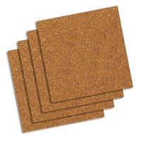 "Quartet Natural Cork Tiles,12"" x 12"", Frameless, Modular, 4-Count (102W-B)"