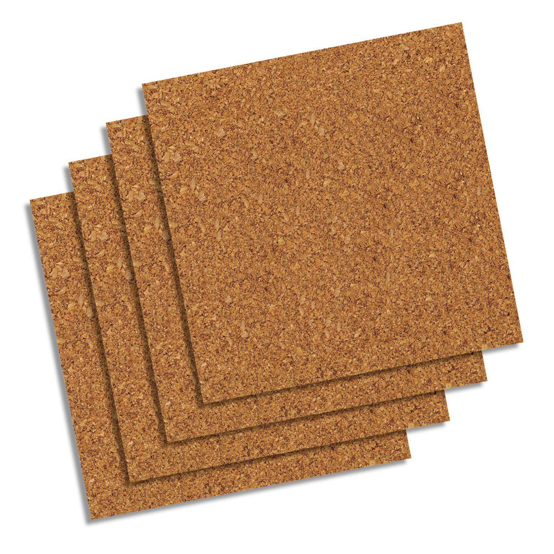 Quartet Natural Cork Tiles12 X 12 Frameless Modular 4 Count