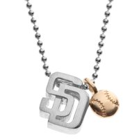 San Diego Padres Alex Woo Women's Little MLB Sterling Silver Necklace with Mini Gold Baseball Addition - No Size