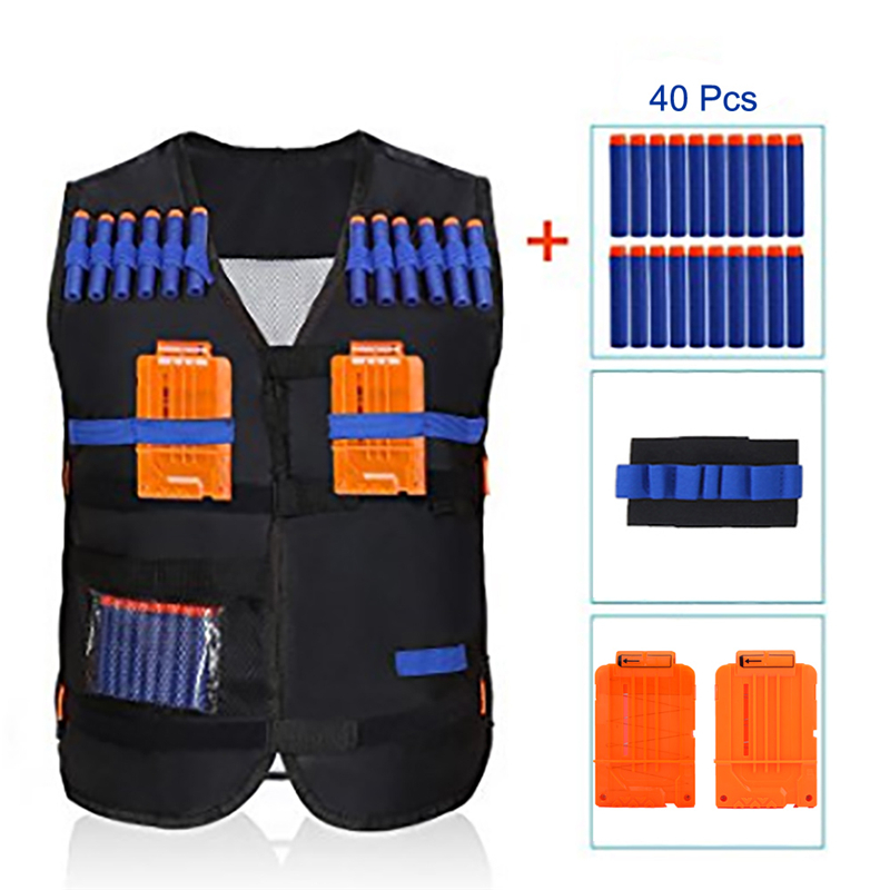 Kids Elite Tactical Vest with 2pcs Darts Clips,1pcs Wristband and 40pcs Foam Bullets For N-strike Elite Series Toy