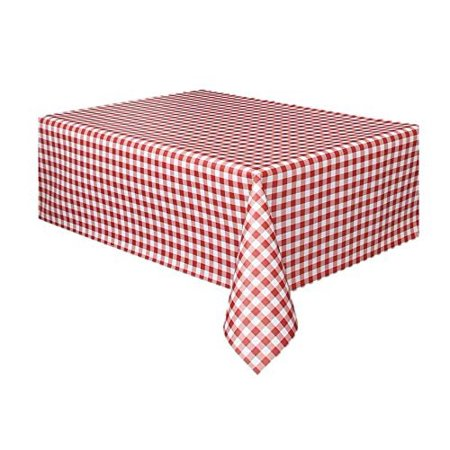 Christmas Vinyl Tablecloth - 12 Pack Rectangular Red and White Checkered Gingham Print Table Cloth Runner for Holiday and Party Events | Beach | Camping | Wedding | Birthday - - Red And White Table Runner