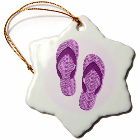 3dRose Purple Flowered Flip Flop Shoe - Snowflake Ornament, 3-inch