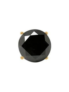 0.22 Ct Round Black AAA Diamond 18K Yellow Gold Men's Single Stud Earring