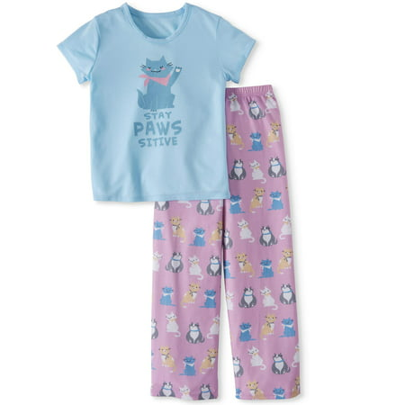 Toast & Jammies Girls Short Sleeve Top and Pant PJ Set