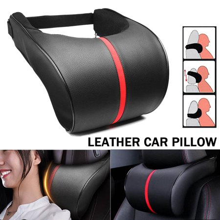 Grtxinshu 3 Way Adjustable PU Leather Car Auto Seat Neck Pillow Memory Foam Head Neck Rest Headrest Cushion