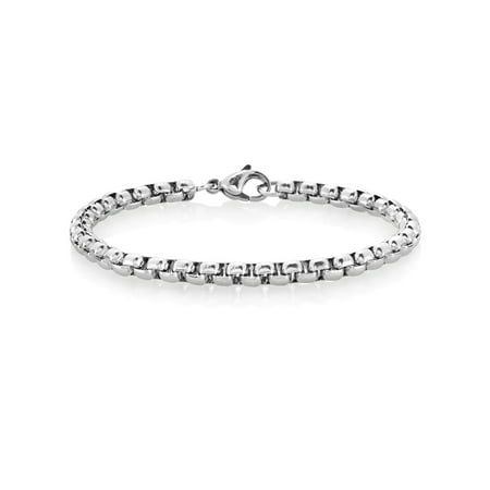 Men's High Polished Stainless Steel Box Chain Bracelet (5mm) - 8.5