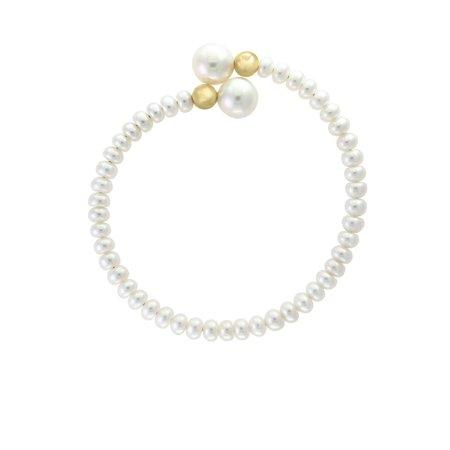 5-6MM White Pearl and 14K Yellow Gold Bracelet Alexandrite White Gold Bracelets