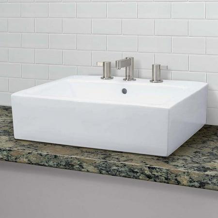 DecoLav Classically Redefined Ceramic Rectangular Vessel Bathroom Sink with - Decolav Pedestal Sink