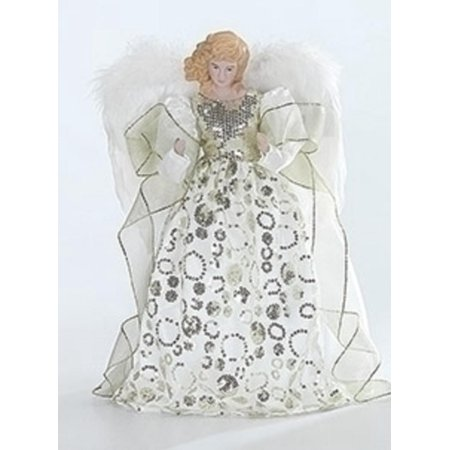 Porcelain Angel with Ivory and Gold Gown Christmas Tree Topper 14