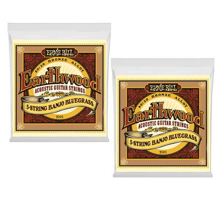 2 PACK Ernie Ball 2063 Earthwood Acoustic 80/20 bronze Banjo Strings 5-string (Best Banjo Strings For Bluegrass)