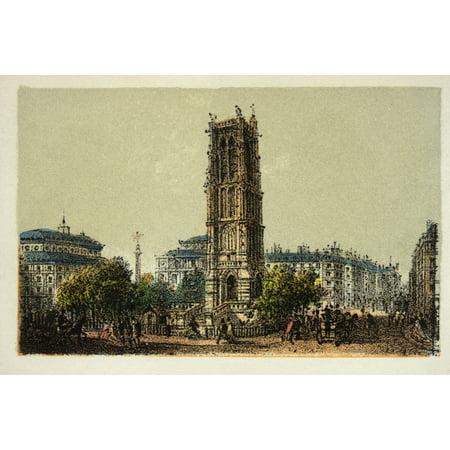 Gravure  Paris En 1874  La Tour Saint Jacques  Coll Canvas Art     36 X 24