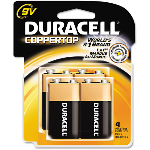 Duracell Coppertop Alkaline Household Batteries, 9V, 4 Batteries/Pack