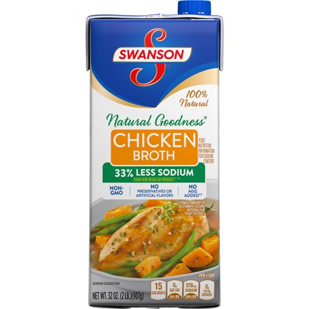 ((4 Pack) Swanson Natural Goodness Chicken Broth, 32 oz. Carton)