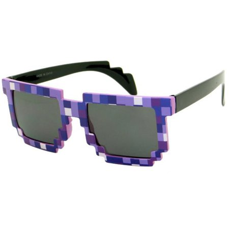 8-Bit Pixelated Purple Sunglasses Geek Square Nerd 90's Dark Arms Adult - 8 Bit Sunglasses