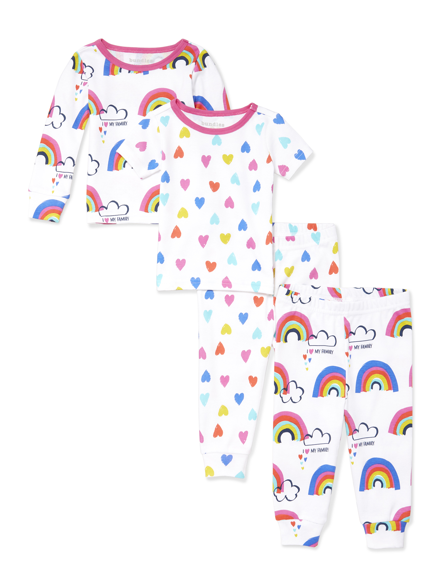 Short Sleeve Snug-Fit Pajamas, 4pc Set (Baby and Toddler Girls)
