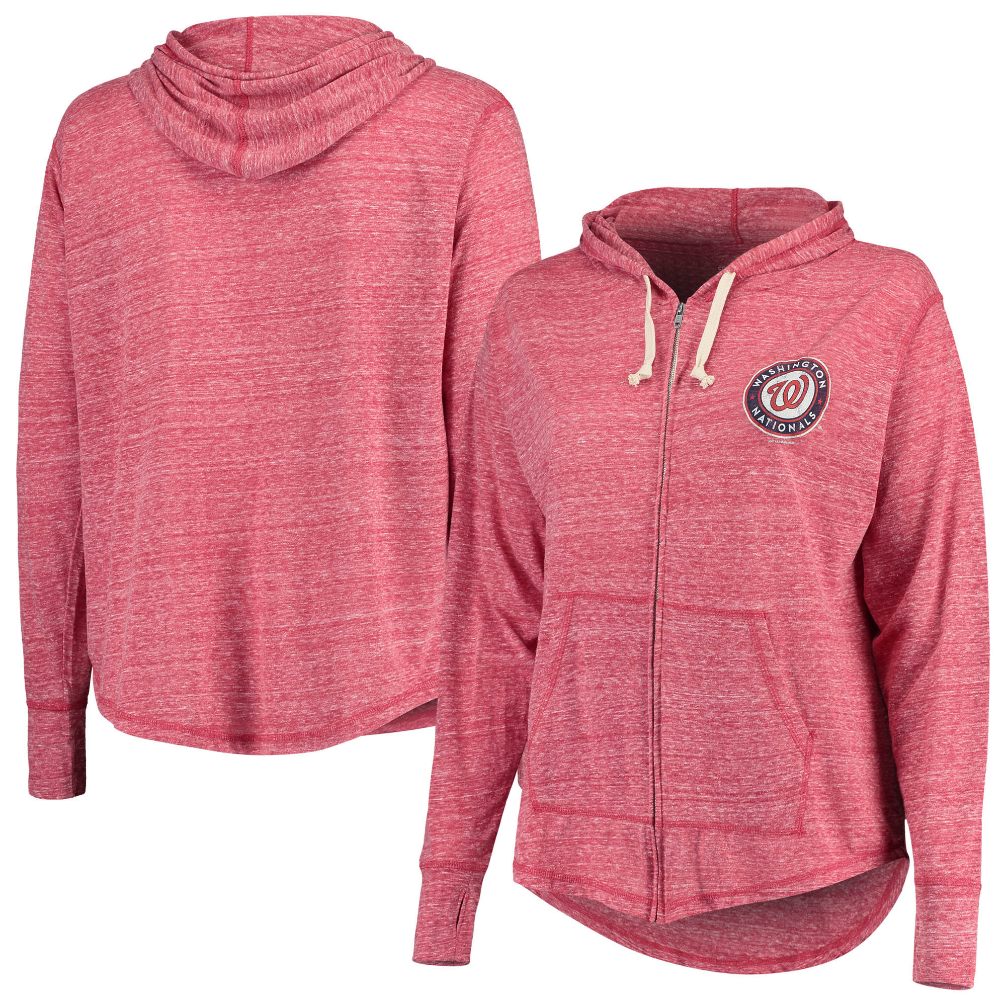 Washington Nationals Soft as a Grape Women's Plus Size Full-Zip Hoodie - Red