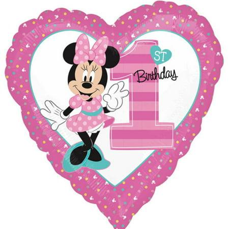 Minnie Mouse Heart Shape 1st Birthday Theme Foil / Mylar Balloon 18