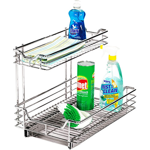 "Glidez Heavy-Duty 11.5"" Sink Deep Sliding Cabinet Organizer, Chrome"
