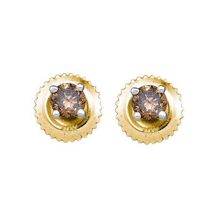 10kt Yellow Gold Womens Round Brown Color Enhanced Diamond Solitaire Stud Earrings 1/4 Cttw ()